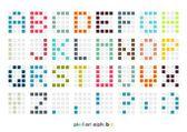 Pixel kunst alfabet lettertype in pastel kleuren — Stockvector
