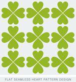 Green heart seamless background pattern flat design — Stock Vector