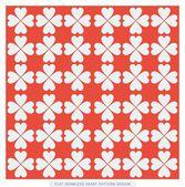 Red flat seamless heart pattern design — Stock Vector