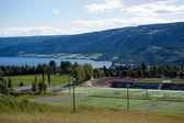 спортивный центр, детские площадки, футбольные поля, теннисные корты — Стоковое фото