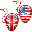 American and British flags mask.Vector — Stock Vector #13217913