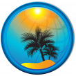 Palm trees tourism background Button — ベクター素材ストック
