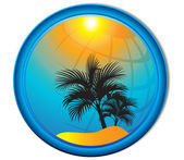 Palm trees tourism background Button — Stock Vector