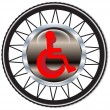 Stock Vector: Disability sign on background of wheels.Vector