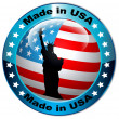Made in USA flag globe button.Vector — Stock Vector