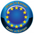 Stock Vector: Made in Europe flag globe button