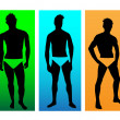 The silhouettes of men models.Vector — Stock Vector