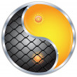 Yin and Yang button - Take care of freedom.Vector - Stock Vector