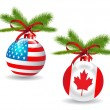 Christmas ball with US,Canadian flag.Vector - Stock Vector