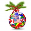 Stock Vector: Christmas ball with international flags globe