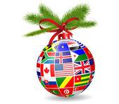 Christmas ball with international flags globe — Stock Vector