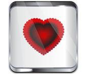 Glass icon Valentine's heart.Vector — Vector de stock