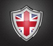 Protection metal shield United Kingdom flag.Vector — Stock Vector