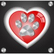 Metal  Paw print love - Stock Vector