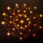 Red festive fireworks — Stock Vector