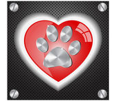 Metal Paw print love — Stock Vector