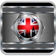 Royalty-Free Stock Vector Image: Metal background British flag Big Ben silhouette.Vector