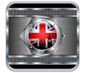 Metal background British flag Big Ben silhouette.Vector — Stock Vector