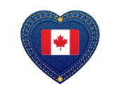 Jeans heart leather label flag of Canada denim background.Vector — Stock Vector
