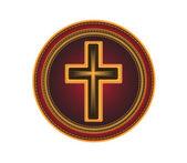 Embroidered button Religious cross.Vector — Stock Vector