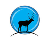 Silhouette of a Deer on a blue background.Vector — Stock Vector
