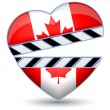 Clapper board with heart Canada flag.Vector — Imagen vectorial
