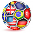 Football ball with flags.Vector — Imagens vectoriais em stock