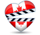 Clapper board with heart Canada flag.Vector — Stock Vector