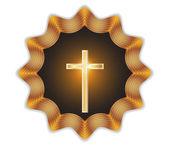 Religious cross label.Vector — Stock Vector