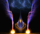 Fractal composition smoke with fire — Stock Photo