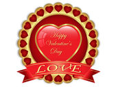 Valentine day golden label — Vector de stock