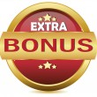 Golden extra bonus button — Stock Vector