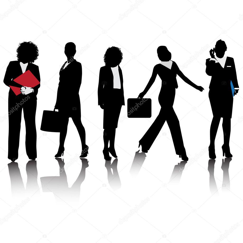 zakelijke vrouwen silhouettes.vector — Stockvector ...