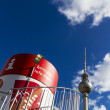 Infopiont with the Berlin TV Tower in the background — Stock Photo