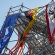 National flags on a scaffolding — Stock Photo