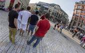 Youth tourist group at the Hackescher Markt in Berlin — Stock Photo