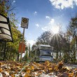 Bus powered by natural gas in Berlin urbtransport in autumn weather — Stok Fotoğraf #34531191