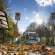 Foto Stock: Bus powered by natural gas in Berlin urbtransport in autumn weather