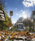 Bus powered by natural gas in the Berlin urban transport in autumn weather — Stock Photo