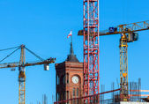 Construction on the Red Town Hall in Berlin — Stock Photo