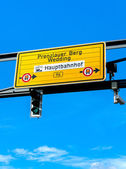 Signpost in Berlin's road traffic — Stock Photo