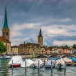 Zurich center on Limmat river — Stock Photo