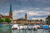 Zurich center on Limmat river — Stock Photo