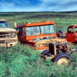 Junk yard vintage cars — Stock Photo