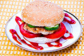 Hamburger on a plate — Stock Photo