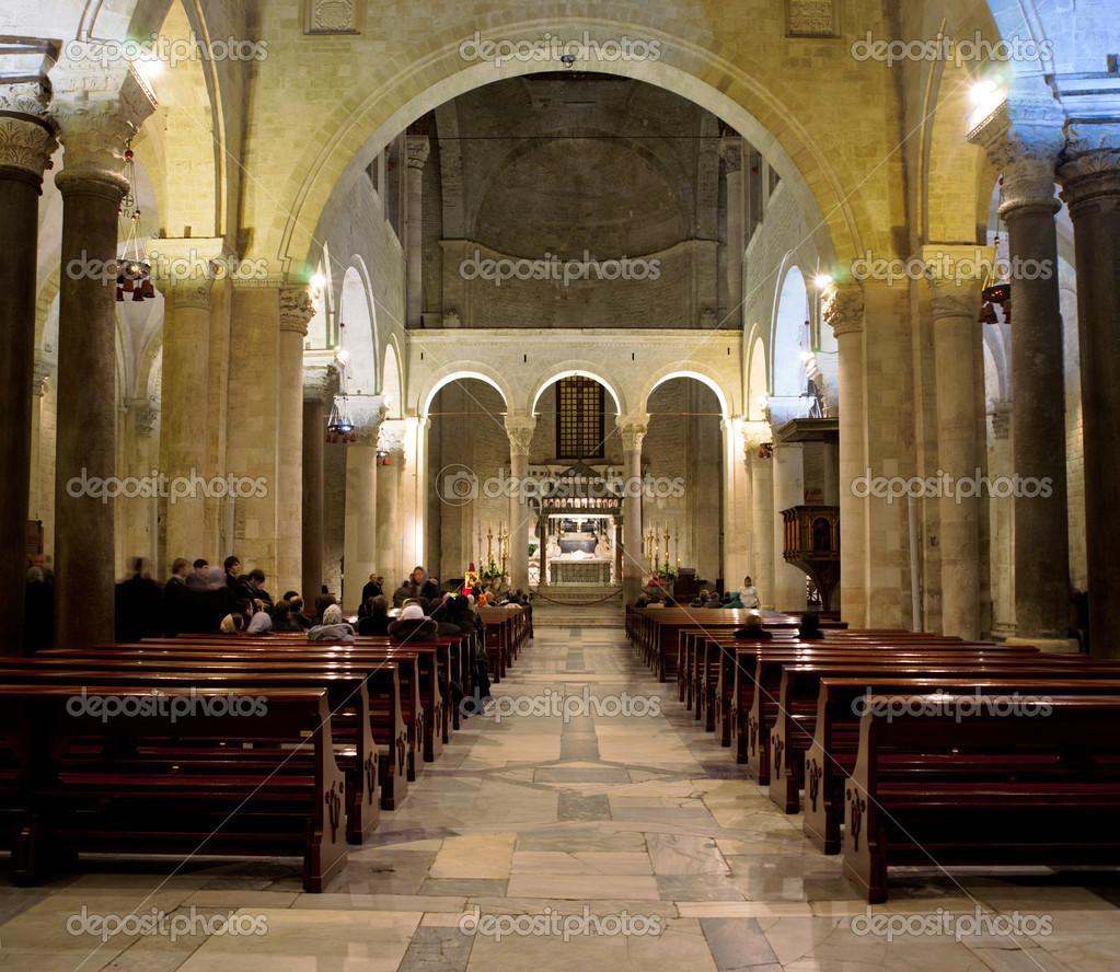 Inside St Nicholas Basilica Bari Apulia Stock Photo
