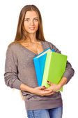 Young student with her books in hand — Stock Photo