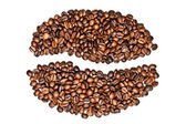 Grain coffee from beans on white — Stock Photo