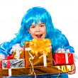 pretty girl dressed like malvina with many gift boxes — Stock Photo
