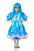 Pretty girl in the role of the Malvina, doll with the blue hair — Stock Photo